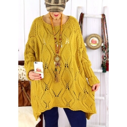 Pull long femme grande taille mohair moutarde CHARME Pull femme grande taille