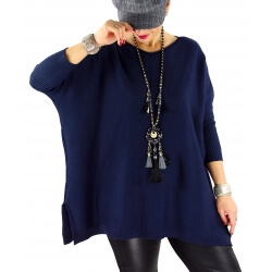 Pull grande taille femme BOURGOGNE Bleu marine