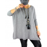 Pull grande taille femme BOURGOGNE gris