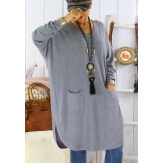 Robe pull grande taille ample dos boutons NIKOS gris