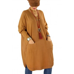 Robe pull grande taille ample dos boutons NIKOS camel