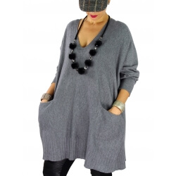 Pull long femme grande taille ample poches ALEXIA Gris