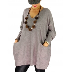 Pull long femme grande taille ample poches ALEXIA Taupe