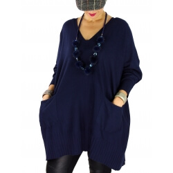 Pull long femme grande taille ample poches ALEXIA Bleu marine