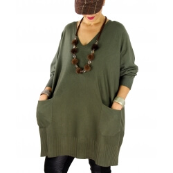 Pull long femme grande taille ample poches ALEXIA Kaki