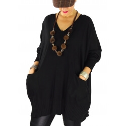 Pull long femme grande taille ample poches ALEXIA Noir