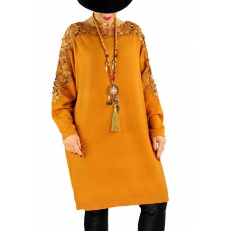 Robe pull grande taille dentelle MUSICA Moutarde