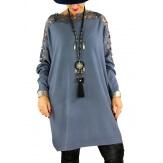 Robe pull grande taille dentelle MUSICA Gris-Robe femme-CHARLESELIE94