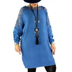 Robe pull grande taille dentelle MUSICA Bleu jean