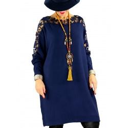 Robe pull grande taille dentelle MUSICA Bleu marine