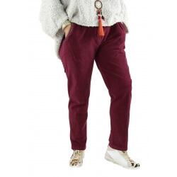 Pantalon femme grande taille strech loose FRANCIS bordeaux
