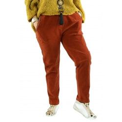 Pantalon femme grande taille strech loose FRANCIS rouille