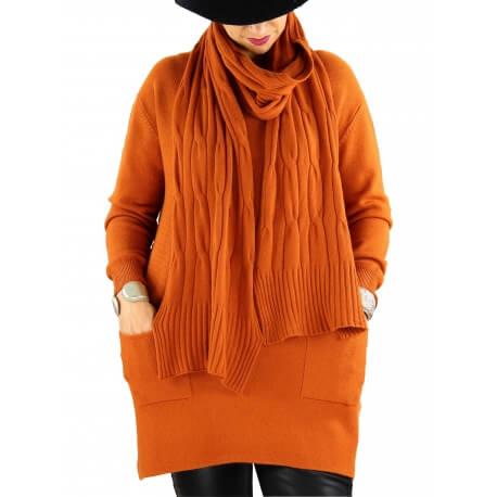 Pull long + écharpe femme grande taille DAVY Brique
