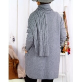 Pull long + écharpe femme grande taille DAVY Gris