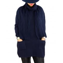 Pull long + écharpe femme grande taille DAVY Bleu marine
