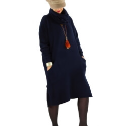 Robe pull grande taille hiver + écharpe MALONE Bleu marine