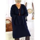 Robe pull grande taille hiver + écharpe MALONE Bleu marine-Robe pull femme-CHARLESELIE94
