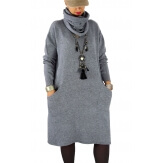 Robe pull grande taille hiver + écharpe MALONE Gris-Robe pull femme-CHARLESELIE94