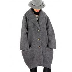 Manteau hiver femme laine bouillie grande taille bohème gris SABINE