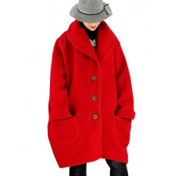 check-out 44b0f 68025 Manteau femme grande taille hiver laine SABINE Rouge