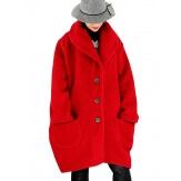 Manteau hiver femme laine bouillie grande taille bohème rouge SABINE