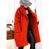 Manteau hiver femme laine bouillie grande taille bohème potiron SABINE