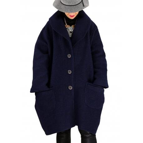 Manteau hiver femme laine bouillie grande taille bohème bleu SABINE