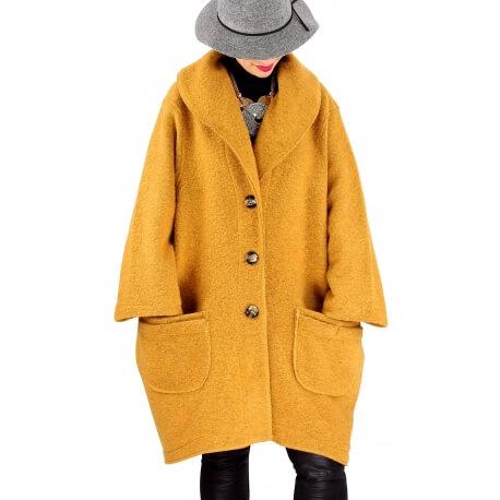 Manteau hiver femme laine bouillie grande taille bohème safran  SABINE