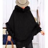 Poncho femme fourrure suédine hiver chic NANNA Noir