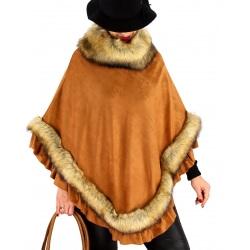 Poncho femme fourrure suédine hiver chic NANNA Camel