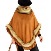 Poncho femme fourrure suédine hiver chic NANNA Camel Poncho femme