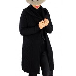 Gilet long capuche hiver grande taille MANY Noir