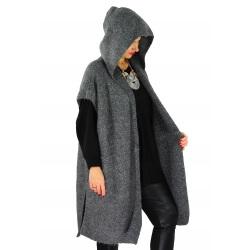 Poncho long capuche laine grande taille MALIBU Gris