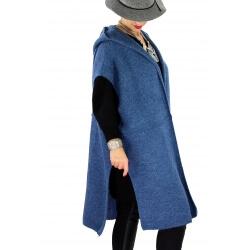 Poncho long capuche laine grande taille MALIBU Bleu