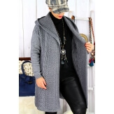 Gilet long capuche hiver grande taille MANY Gris
