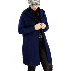 Gilet long capuche femme grande taille MANY Bleu marine-Gilet long femme-CHARLESELIE94