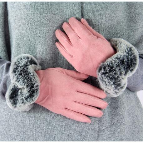 Gants femme hiver tactiles polaire fourrure G18 rose-Gants femme-CHARLESELIE94