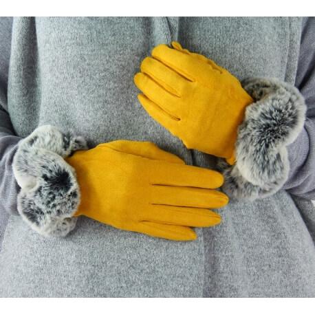 Gants femme hiver tactiles polaire fourrure G18 safran