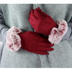 Gants femme hiver tactiles polaire fourrure G18 bordeaux