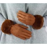 Gants femme hiver tactiles polaire fourrure G19 camel