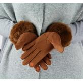 Gants femme hiver tactiles polaire fourrure G19 camel-Gants femme-CHARLESELIE94