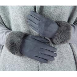 Gants femme hiver tactiles polaire fourrure G19 Gris Gants femme