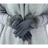 Gants femme hiver tactiles polaire fourrure G19 Gris