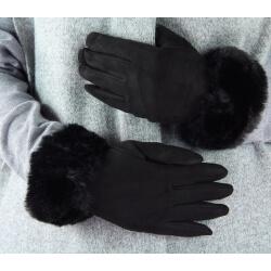 Gants femme hiver tactiles polaire fourrure G19 Noir Gants femme