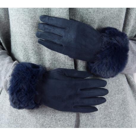 Gants femme hiver tactiles polaire fourrure G19 Bleu marine Gants femme