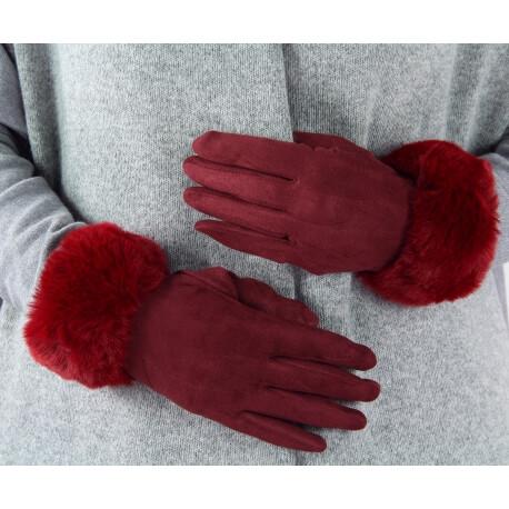 Gants femme hiver tactiles polaire fourrure G19 Bordeaux Gants femme