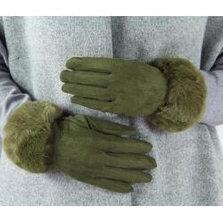Gants femme hiver tactiles polaire fourrure G19 Olive Gants femme