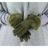 Gants femme hiver tactiles polaire fourrure G19 Olive
