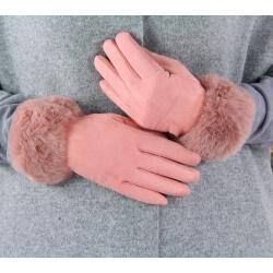Gants femme hiver tactiles polaire fourrure G19 Rose Gants femme
