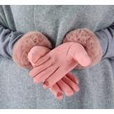 Gants femme hiver tactiles polaire fourrure G19 Rose